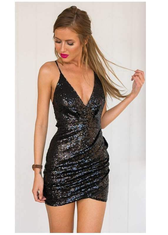 Spaghetti Strap V-neck Backless Sequins Sheth Short Dress  11215938e825