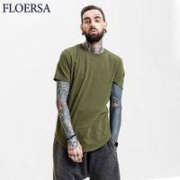 FLOERSA Solid Color Tee Shirt Homme Short Sleeve T Shirts Men Patchwork New HipHop 100% Cotton Camiseta De Los Hombres#611-45