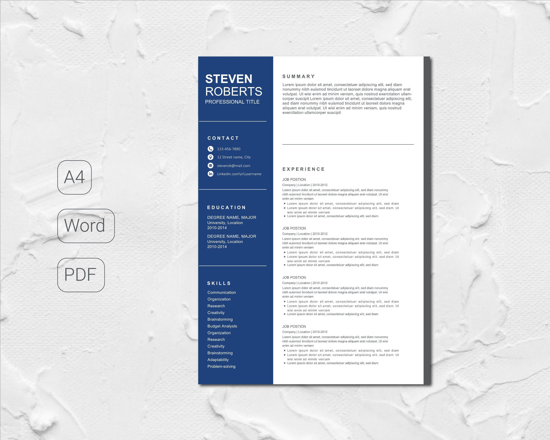 Modeles De Curriculum Vitae Et Lettre De Motivation Bleu Etsy Resume Template Professional Professional Resume Resume Templates