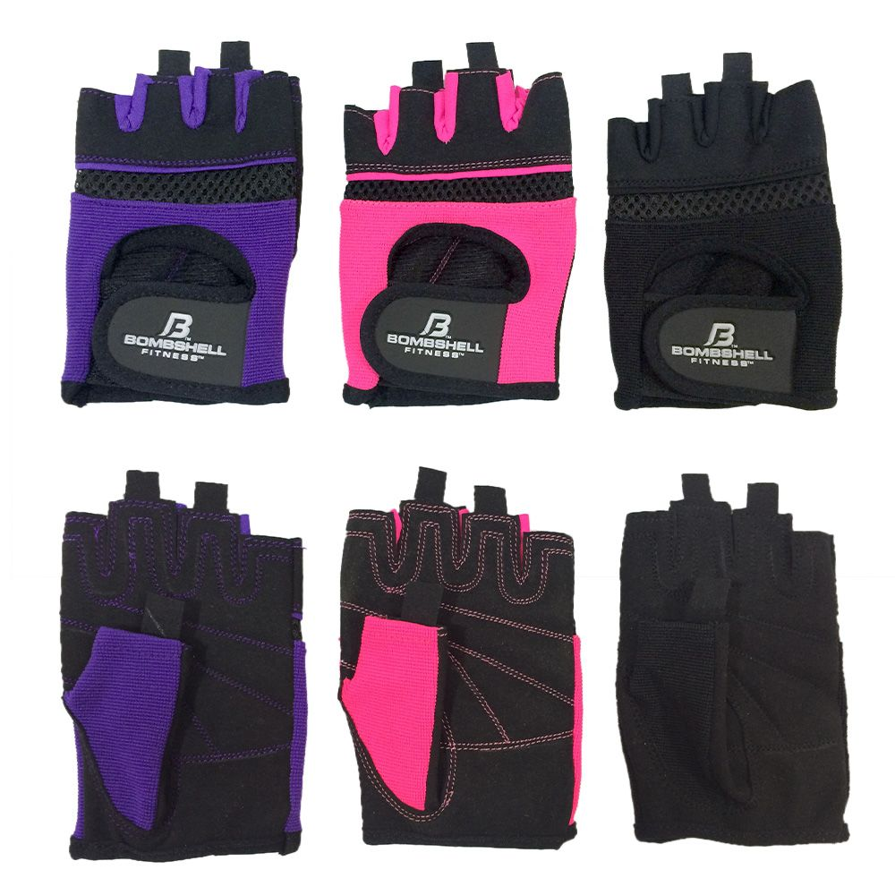 BOMBSHELL FITNESS™ BSF Lifting Gloves - Never get calluses again! The NEW BSF lifting gloves have foam padding to protect your hands during your workout. The front side is made with lycra and air mesh for comfort and fit. You'll find the Bombshell Fitness logo imprinted on top of the Velcro closure. Finger tabs allow you to pull the gloves off easily at the end of your training session.