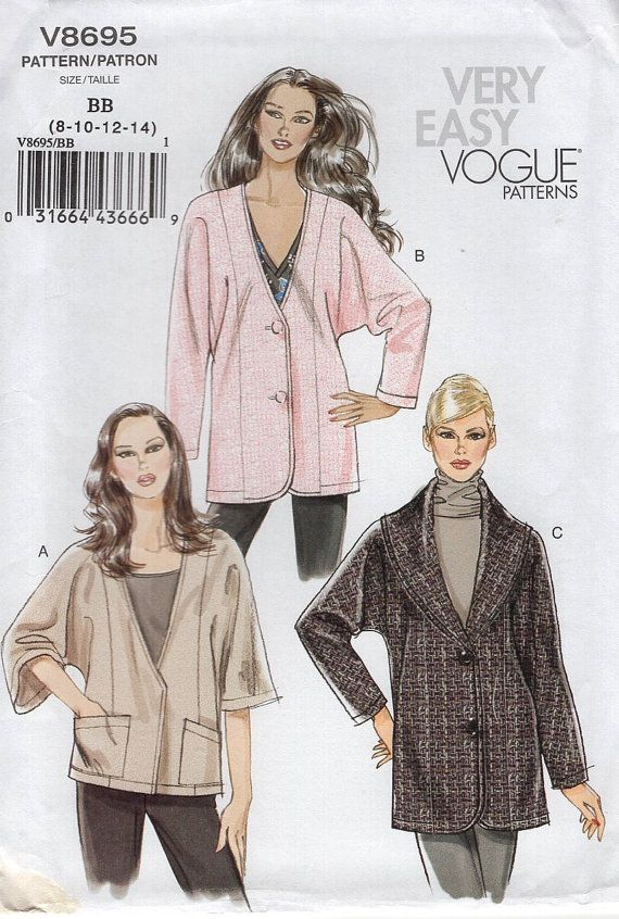 FREE US SHIP Vogue 8695 Dolman Sleeve Jacket Out of Print 2010 New ...