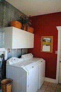 Red Walls In Laundry Room Love The Tin Accent