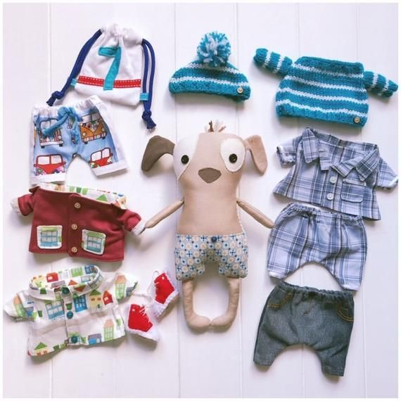 Dress Up Cloth Doll   Scout   with   Pretzel Puppy