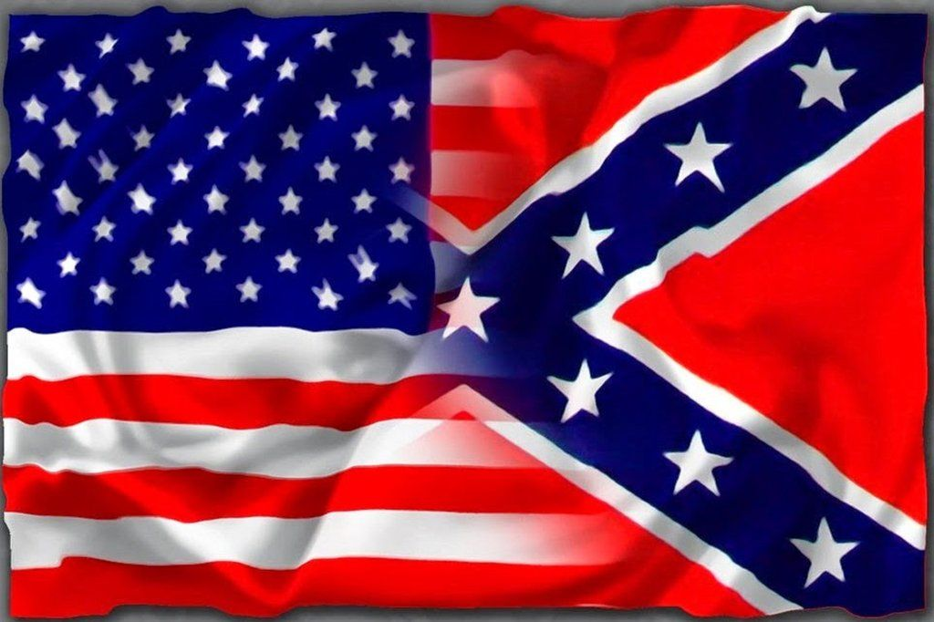 3 x 5 american flag fades into rebel confederate flag flags