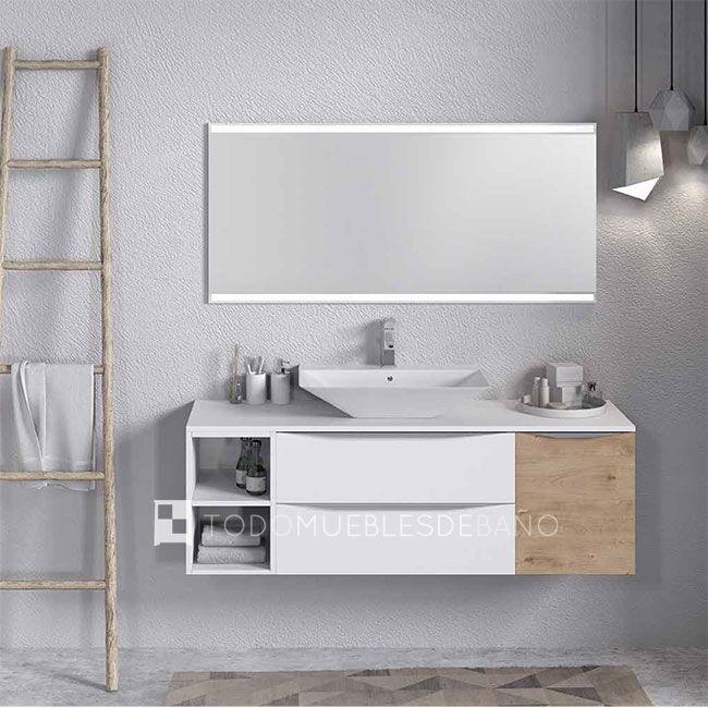 Mueble de baño Landes de 150x45cm (1 mueble de 80cm color Blanco ...