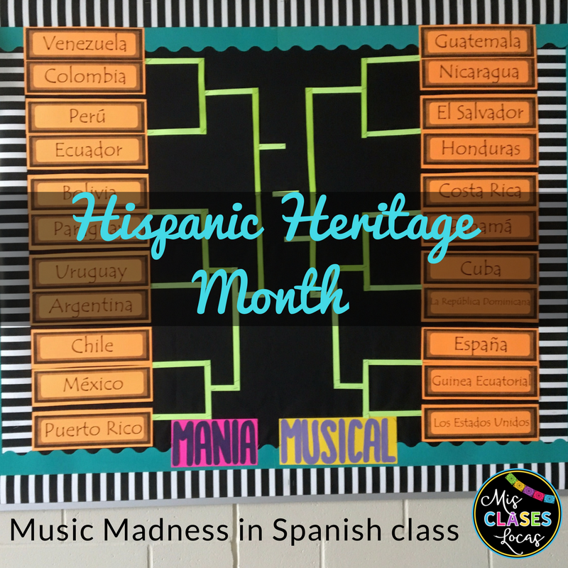 Hispanic Heritage Month in Spanish class Music Madness