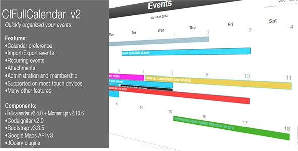Download Free CIFullCalendar v2 # agenda #calendar #cms - agenda download free