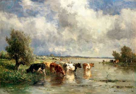 Willem Roelofs, Cows at the water. Private collection