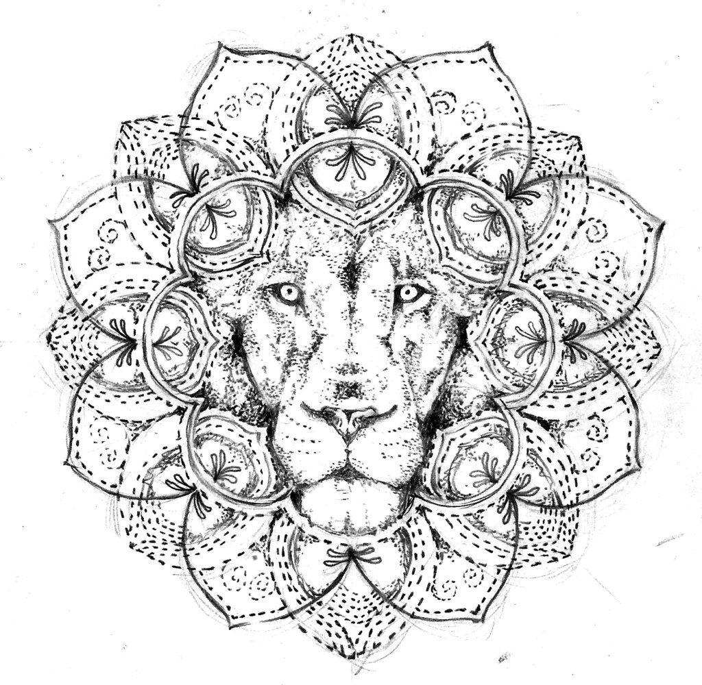 Lion mandala, tattoo design free by Agresivoo.deviantart.com on @DeviantArt