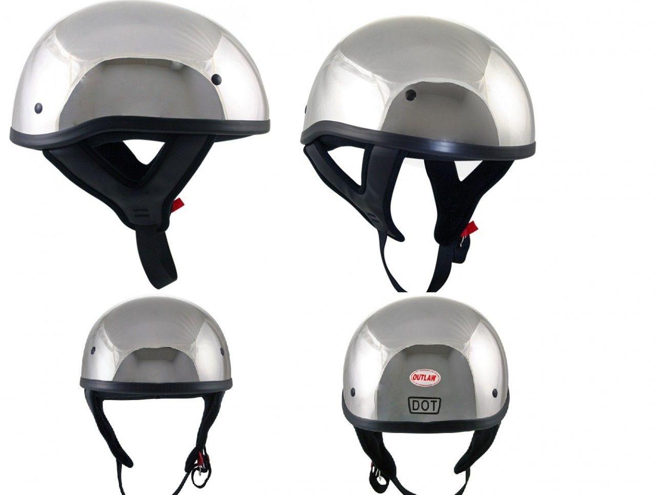 International Biker Mall Dot Chrome Motorcycle Skull Cap