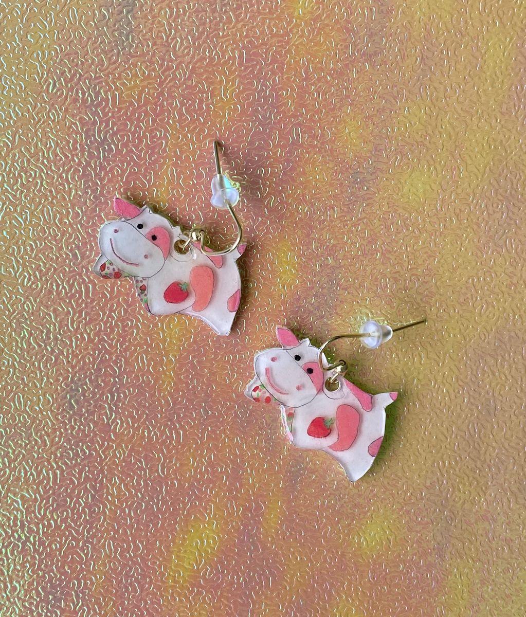 Pink cow earrings Strawberry Cow Earring