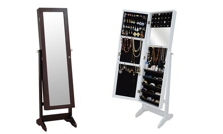 A 4' mirror conceals a cabinet within that's lined with black felt to safely house jewelry and other accessories without causing scratches