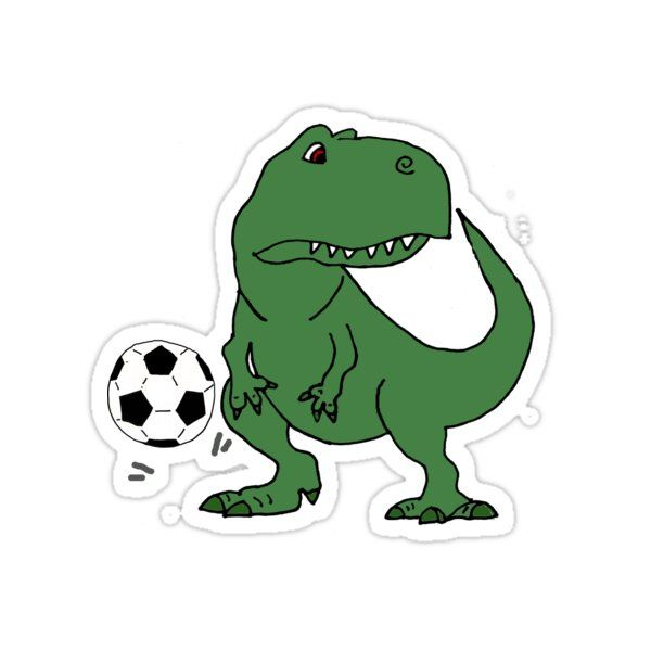 Funny Cool T-rex Dinosaur Playing Football Sticker by naturesfancy