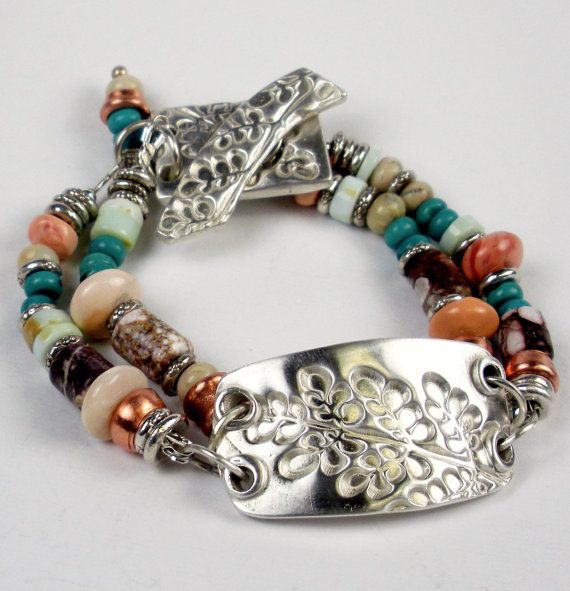 Silver PMC Bracelet Beaded Bracelet  Hubei Turquoise by FebraRose, $269.00