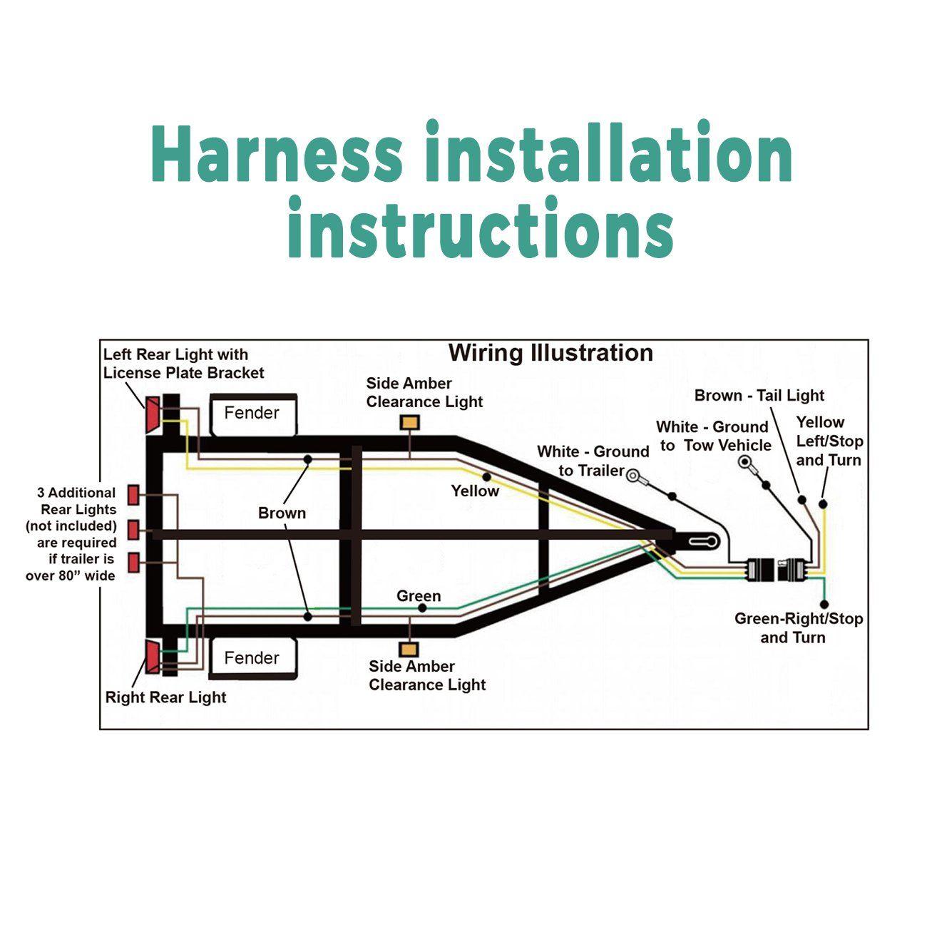 HQAP Trailer Wiring Harness Kit 4Way Flat WishboneStyle