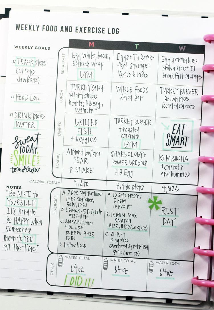 The Happy Planner Fitness Planner | Food, Exercise log & Added Inspirational Elements