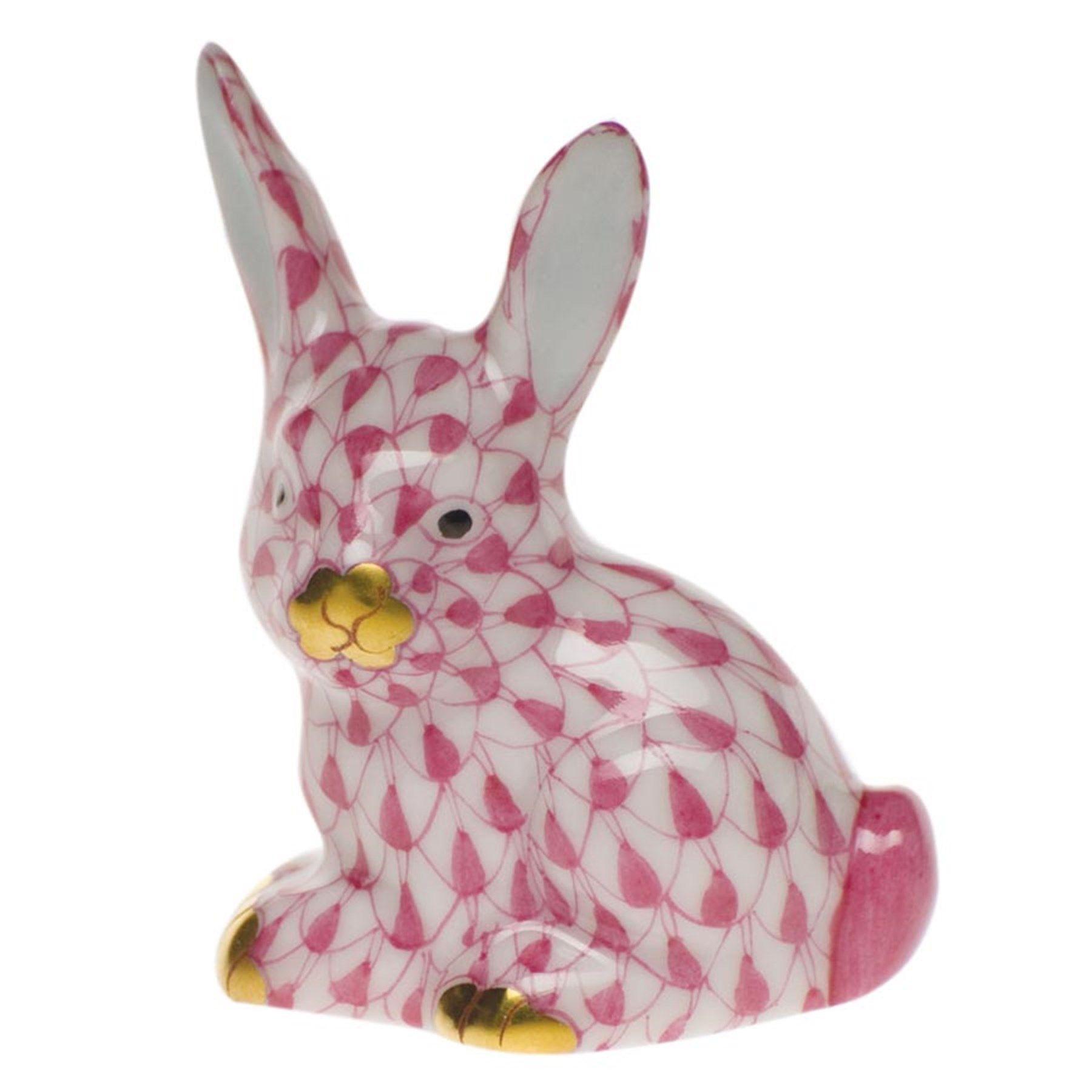 "Herend Kangaroo Hand Painted Porcelain Figurine In Pink: 175 1 ¼"" X 7⁄8"" X 1 ½""h"