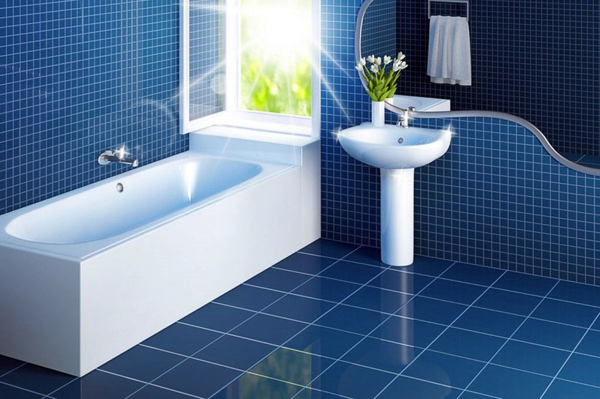 White-Bathroom-Interiors-On-Blue-Ceramic-Floor-And-Wall-Tile-Plus ...