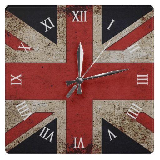 Artistic Grunge Uk Flag Square Wall Clock Zazzle Com Square Wall Clock Uk Flag Union Jack Decor