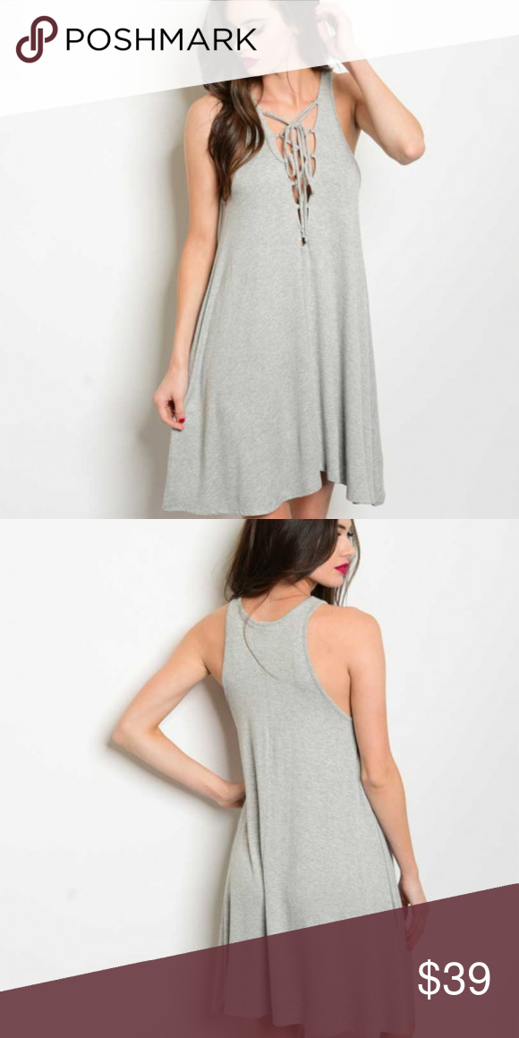 a680c866ebf SUZY Casual Gray Dress Sassy little tunic style gray jersey dress with sexy  lace up neckline. Pair with floppy hat and booties or sandals and fun  earrings ...
