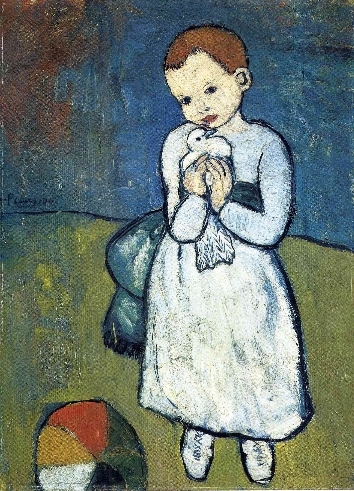 Pablo Picasso Child With a Dove PHOTO Art Print of 1901 Painting BLUE PERIOD