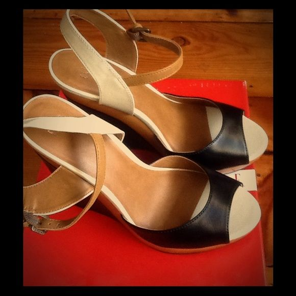 Elle Elemmi Multi Wedge Heels - Size 8 Tan, black, and white wedge heels. Very comfortable! Worn once on grass for a wedding. Elle Shoes Wedges