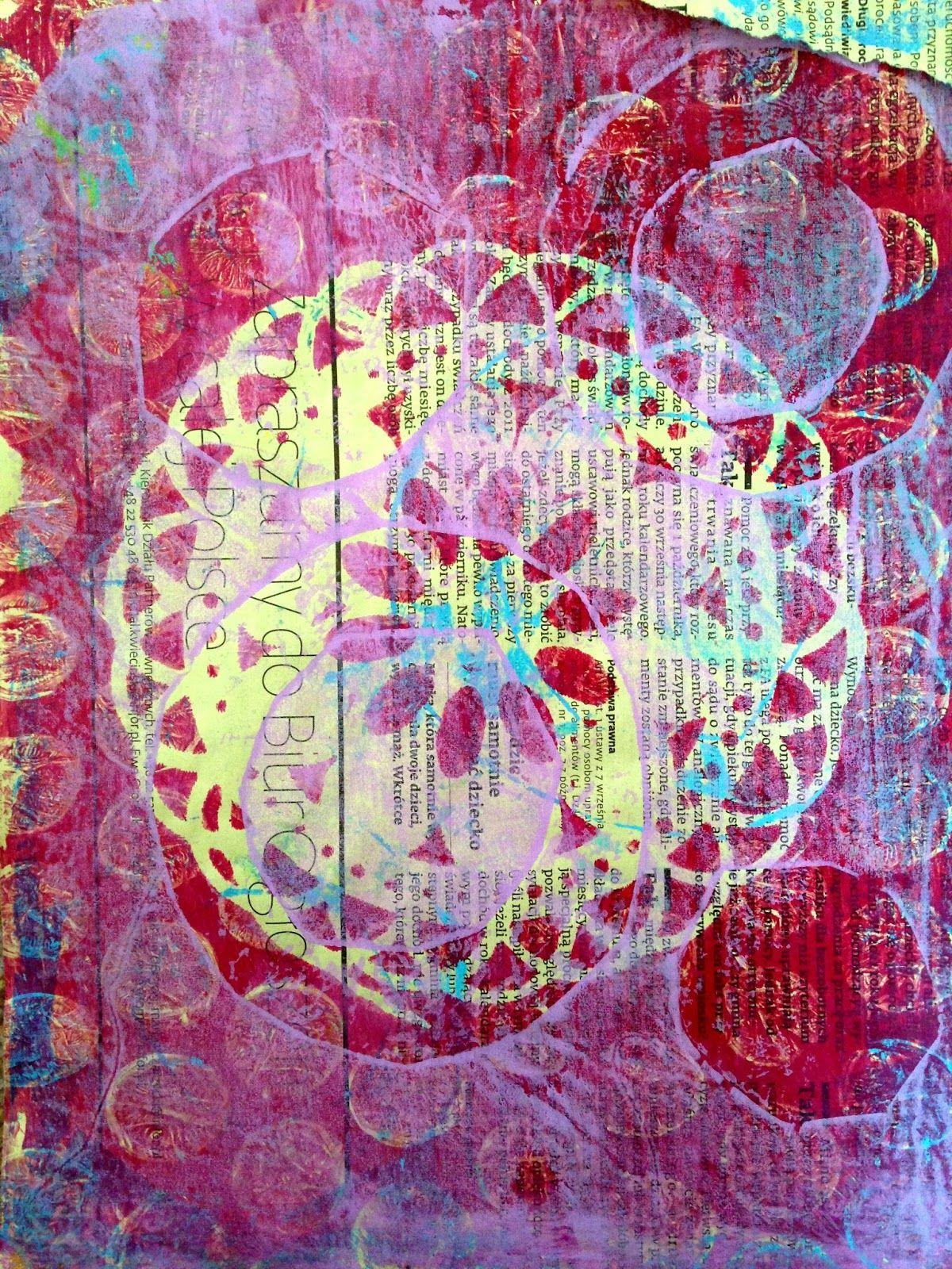 gelli art print on polish yellow newspaper:) www.tandiart.blogspot.ie