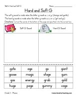 Hard G and Soft G Worksheet