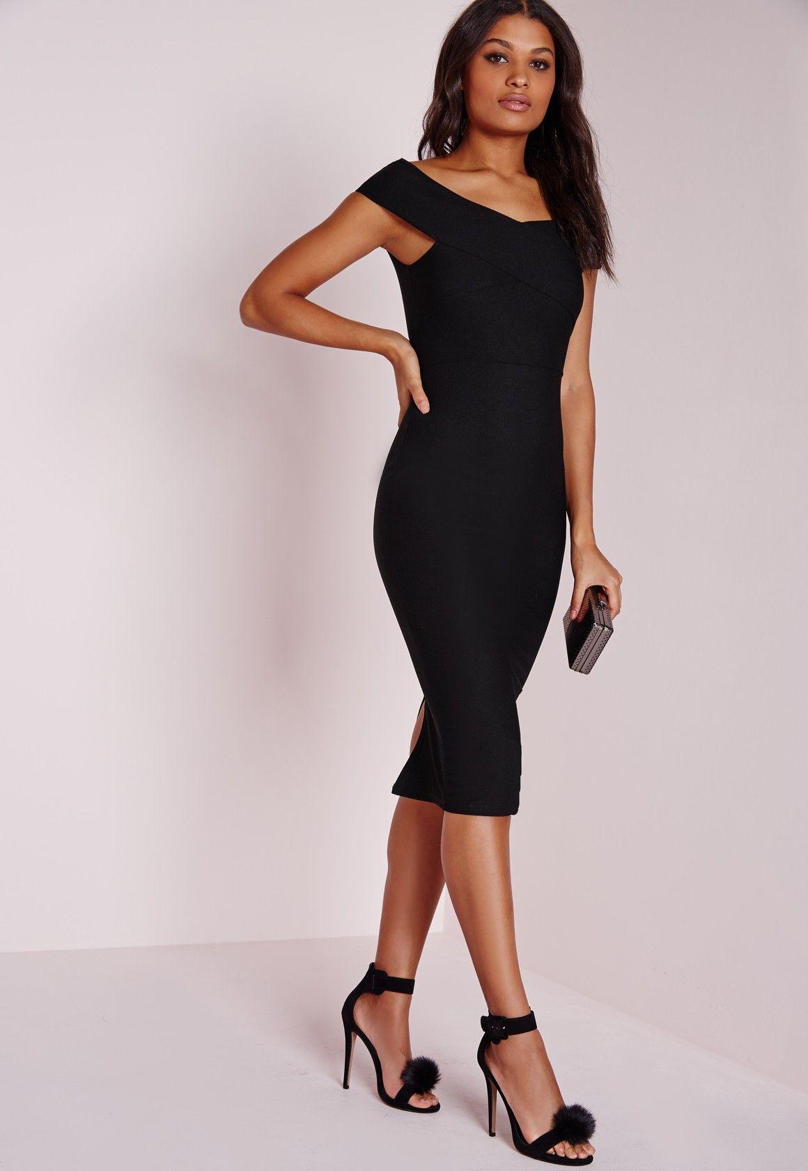 Missguided Crepe Bardot Midi Dress Black With Images Dresses Bardot Midi Dress Black Midi Dress [ 1680 x 1160 Pixel ]