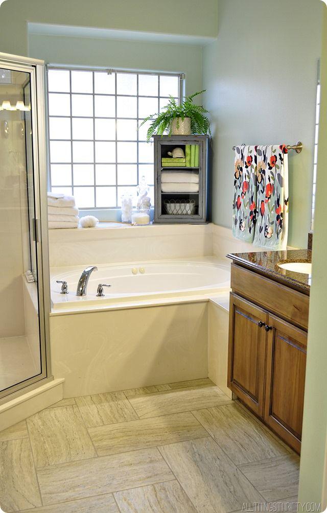 Master Bathroom Makeover Master Bathrooms Serene Bathroom And Bath - Thrifty bathroom remodel