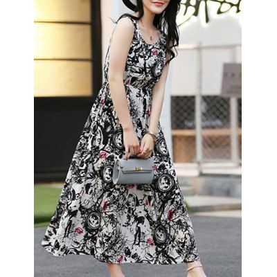 Elegant Black and White Long Dress For Women #CLICK! #clothing, #shoes, #jewelry, #women, #men, #hats, #watches
