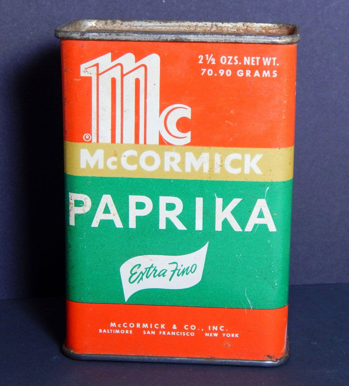 Vintage Tin McCormick Paprika Spice Tin Shaker Cannister 50\'s Mid ...