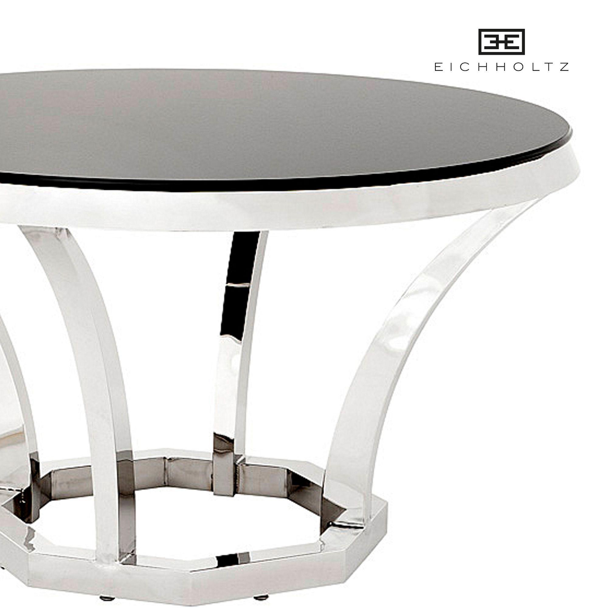 Ronde Eettafel 130 Cm Zwart.Eichholtz Dining Table Valentino Ronde Eettafel Zwart Glas 130cm