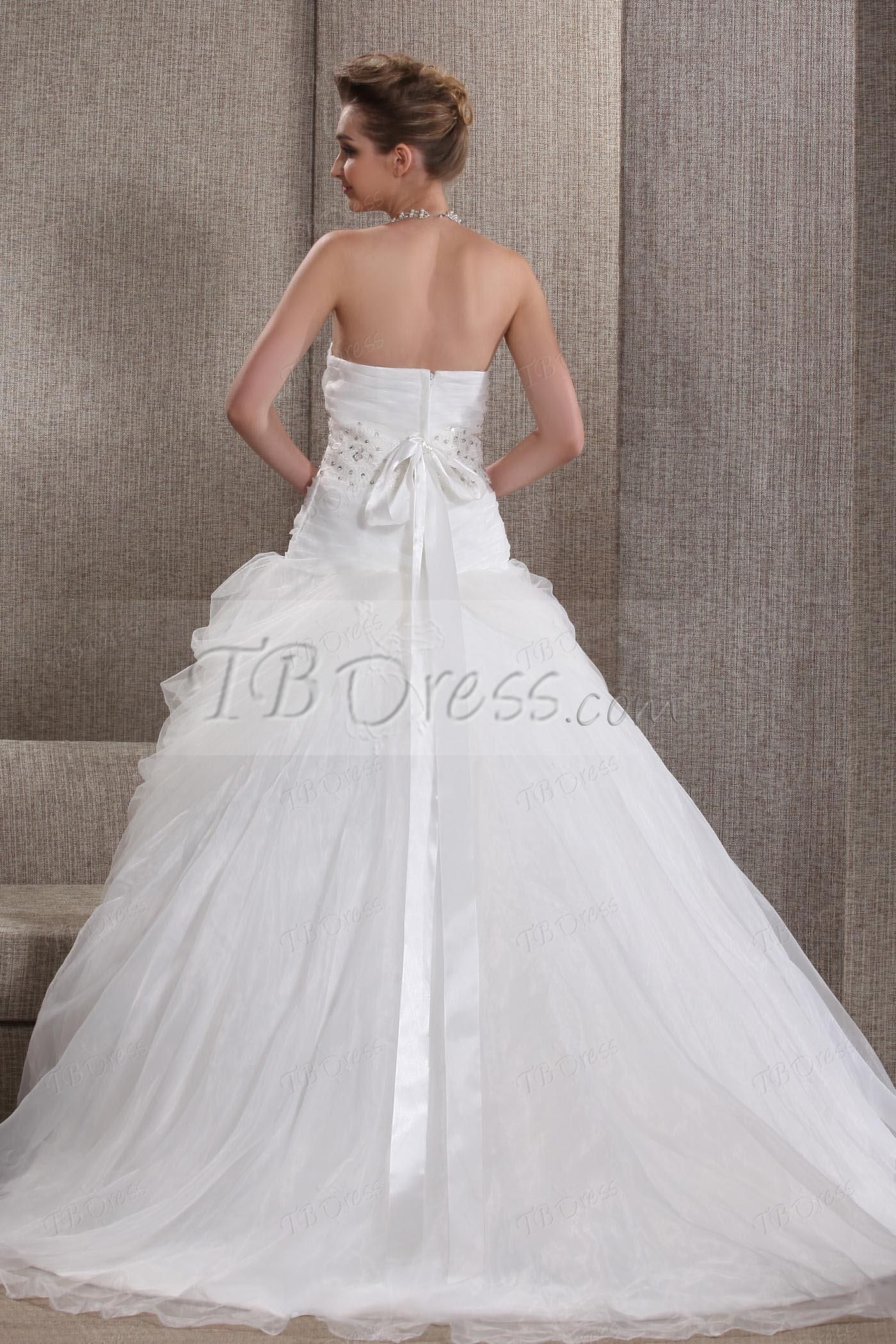 Fabulous A-line Sweetheart Floor-Length Court Pick-up Angerlika's Wedding Dress