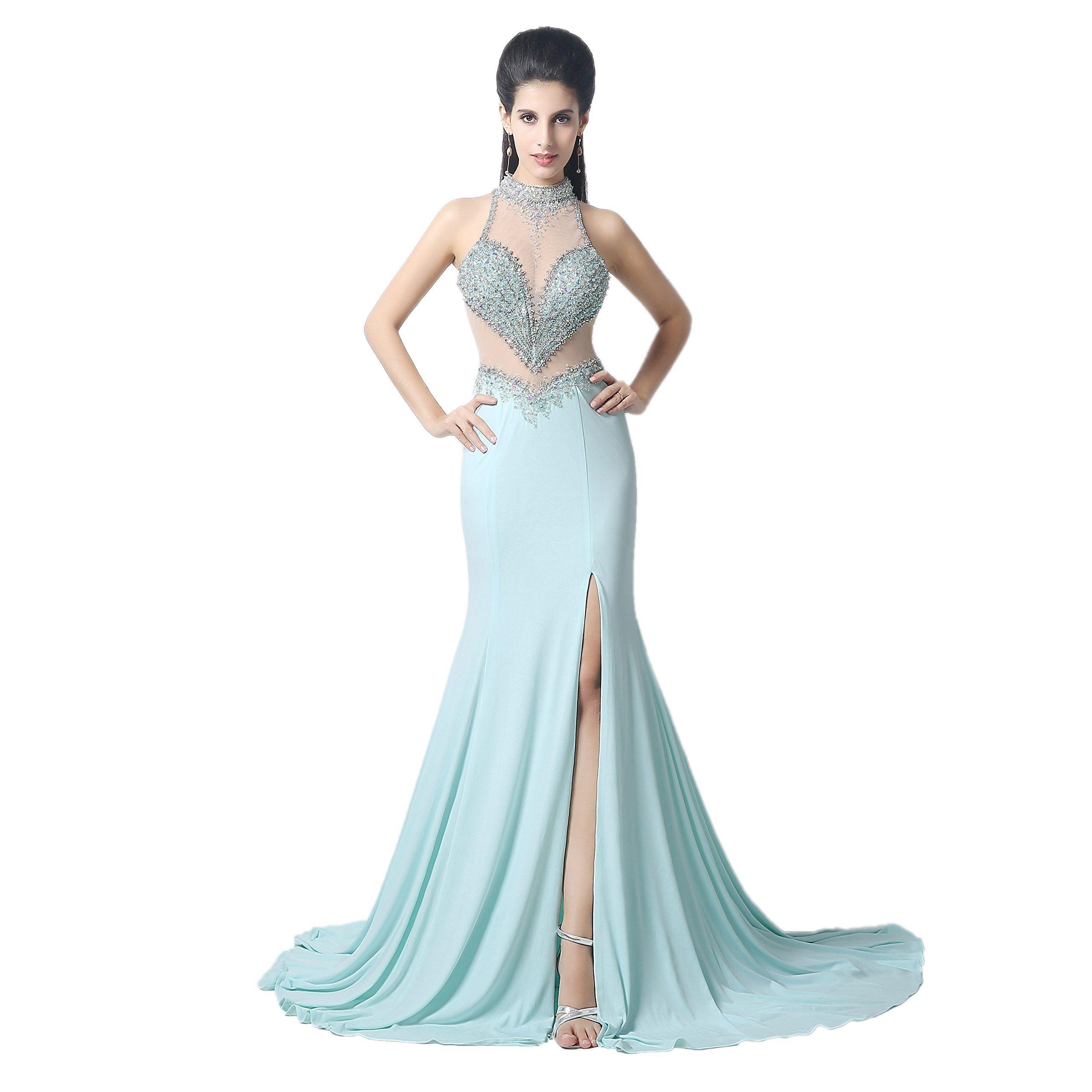 Dreamdress womenus mermaid split beads evening dresses party prom
