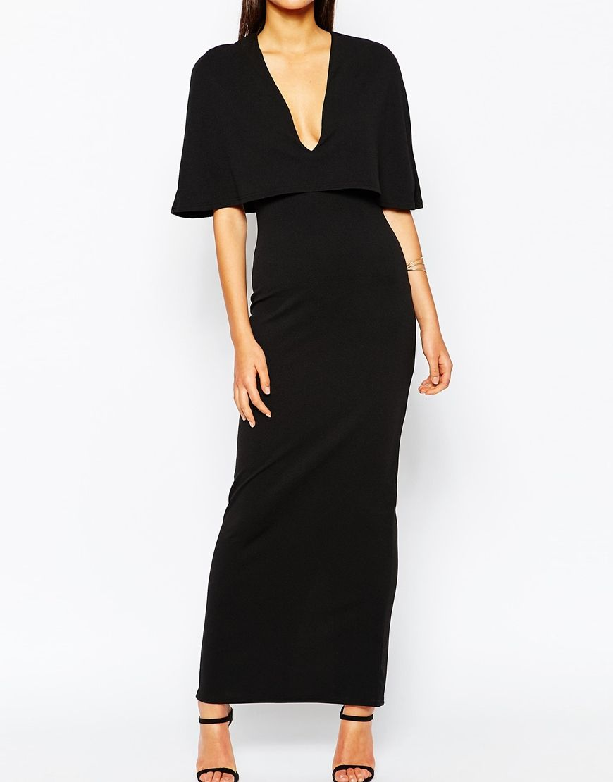 Image of club l cape overlay maxi dress in crepe things to wear
