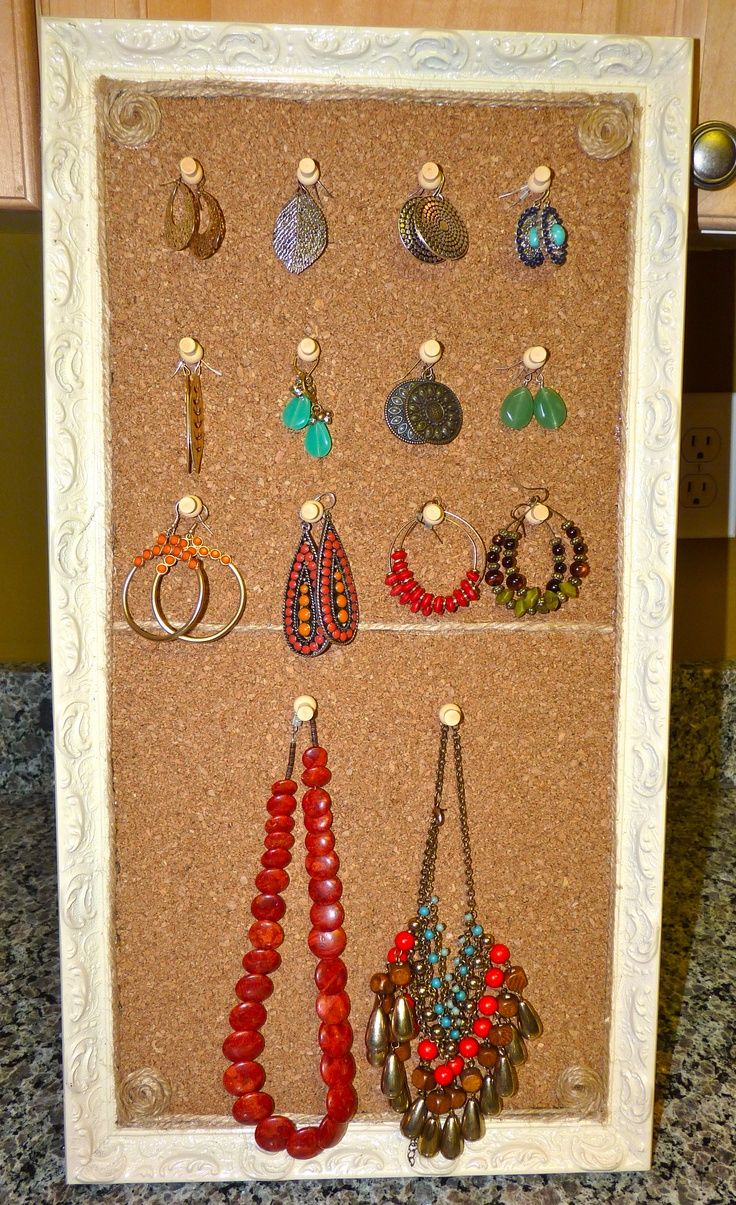 My DIY jewelry cork board organizer Homemade Bulletin Boards