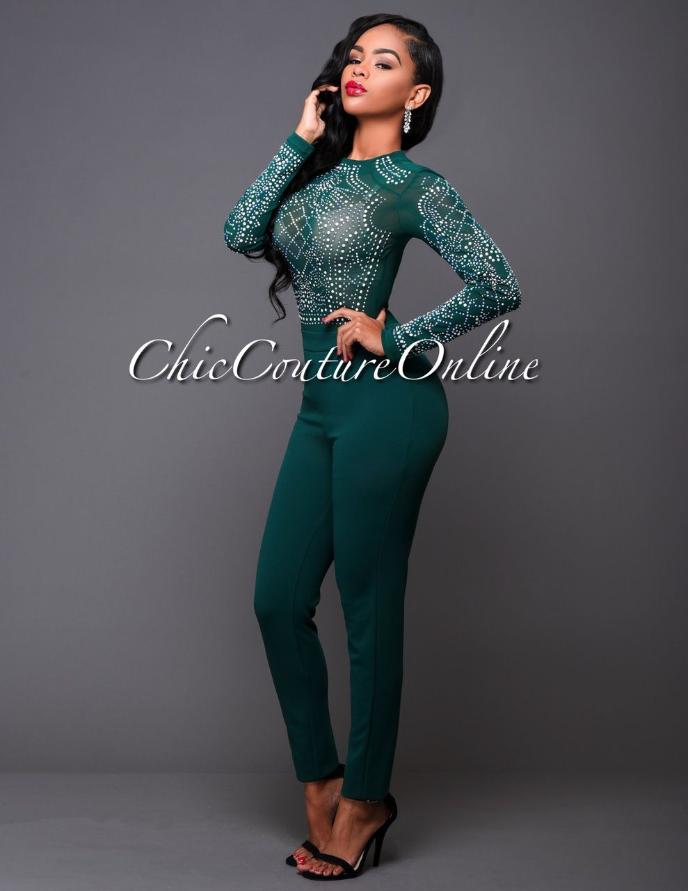 40c422d8f80e Chic Couture Online - After Party Hunter Green Iridescent Stones Jumpsuit