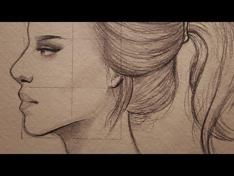تعليم الرسم بالرصاص شرح نسب وجه الانسان من الجانب في مستوى النظر Youtube Female Sketch Male Sketch Drawings