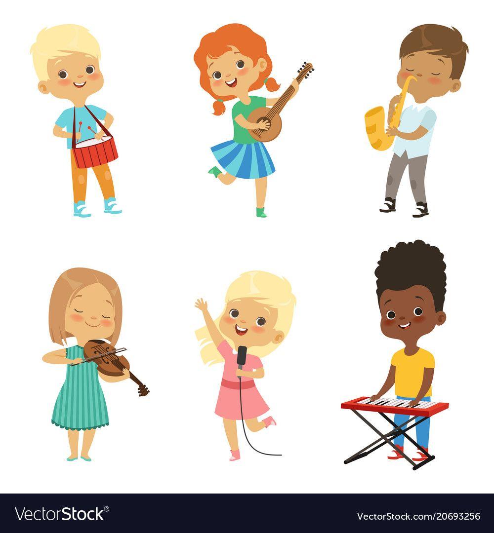 Various Cartoon Kids Musicians Vector Image On Vectorstock
