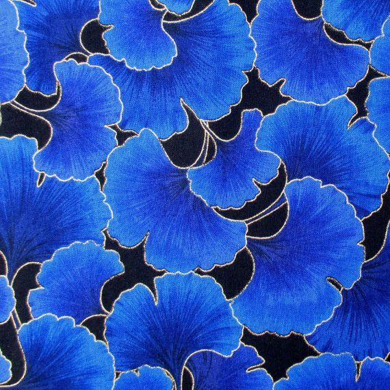 Fabric Ginkgo Leaves Blue Tonal Kona Bay One di BluePacificFabrics