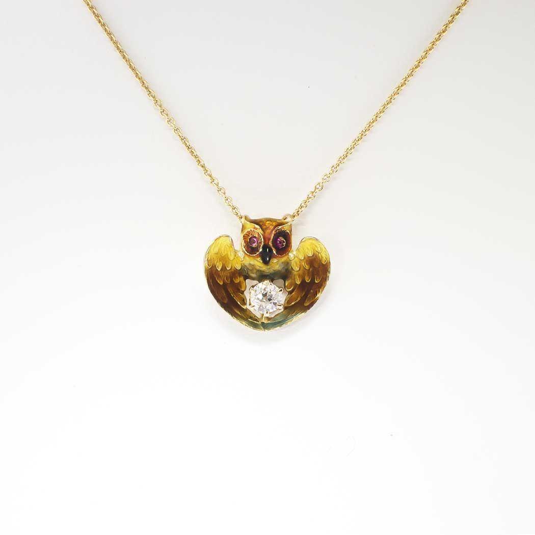 Unique 1880s enamel ruby old mine cut diamond wise owl pendant unique 1880s enamel ruby old mine cut diamond wise owl pendant 14k antique mozeypictures Gallery