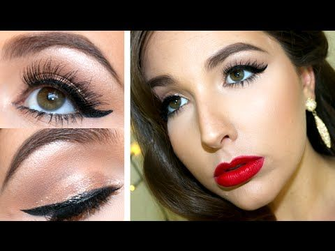 Old Hollywood Glam   MAKEUP TUTORIAL   New Years Eve   CLASSIC PIN UP - YouTube