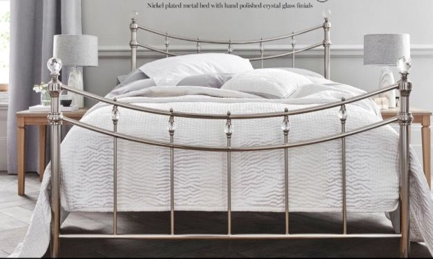 Bed Frame From Next Metal With Crystal Glass Finials Double With