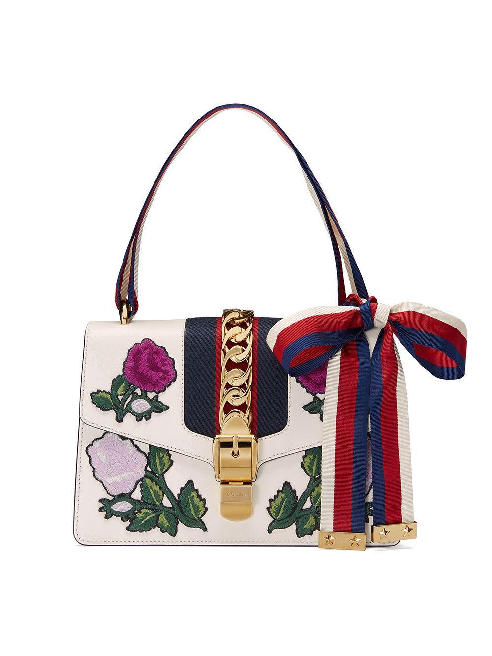 f8e5c7f6cae Gucci White Embroidered Sylvie Small Shoulder Bag