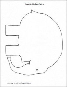 This is a picture of Monster Elmer the Elephant Printable
