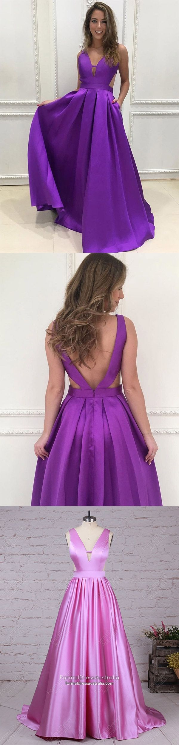 Long Formal Dresses Purple, Princess Prom Dresses Modest, V-neck ...