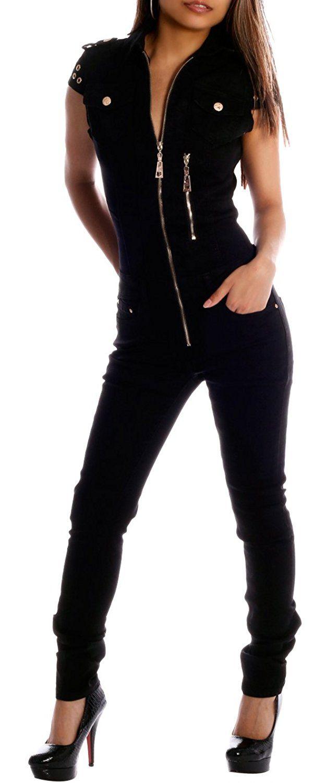 damen jeans overall schwarz (l): amazon.de: bekleidung