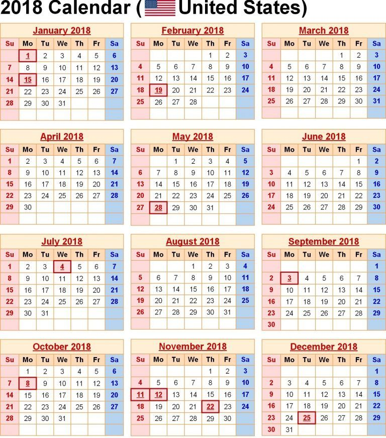Download 20 Printable Yearly Calendar 2019 With Usa Holidays