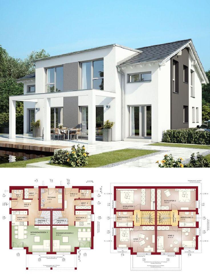 Stadtvilla als Doppelhaus Architektur modern mit